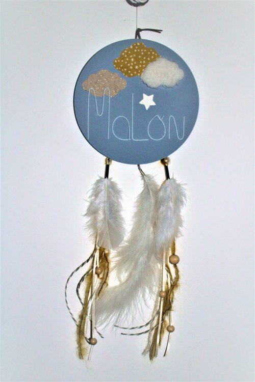 attrape rêve plume bois et prénom