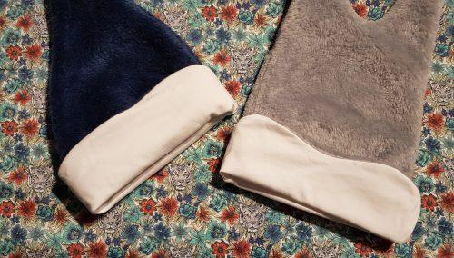 tissu liberty orange bleu pour bonnet bébé personnalisé